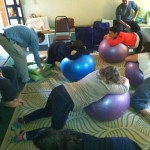 Comfort positions for labor using birthing ball